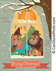 Bear family looking out of the window at snow