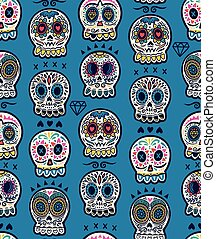 Mexican day of the dead. Colorful skull cute pattern -...