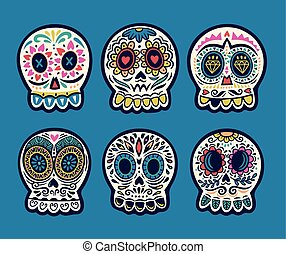 Set of six vector skulls. Mexican holidays collection - Set...