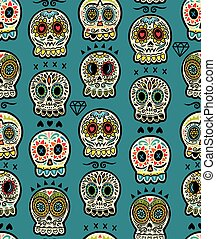 Seamless pattern with sugar skulls. Mexican Day of the Dead...