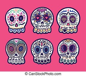 Set of six vector skulls. Mexican holidays collection