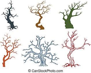 Dead tree vector illustration - Set of Dead tree vector...