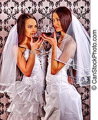 Wedding lesbians in bridal dress. Queer girl. - Wedding...