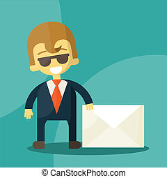 Set of businessman holding letter characters poses - Happy...