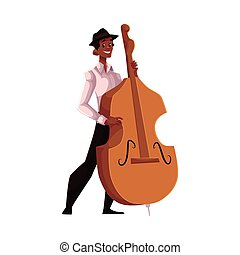 Young African American male contrabass player, cartoon...
