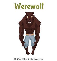 Scary werewolf, Halloween costume idea, cartoon style...
