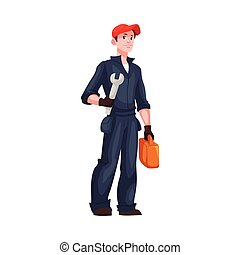 Full length portrait of young and handsome plumber,...