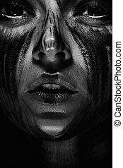 Human with black soul - Scary portrait of the woman Demon...