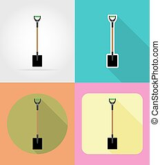 gardening tool shovel flat icons vector illustration...