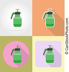 gardening tool sprayer flat icons vector illustration...