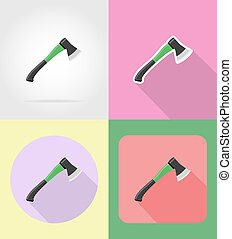 gardening tool ax flat icons vector illustration isolated on...