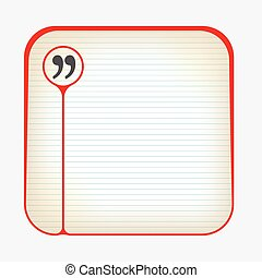 Red box with lined paper and quotation mark
