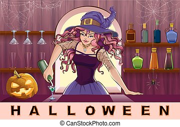 Girl pours cocktail Halloween party