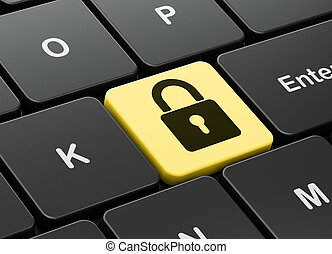 Data concept: Closed Padlock on computer keyboard background
