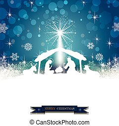 Nativity silhouette White on a Blue Background with...