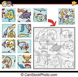 sea life jigsaw puzzles - Cartoon Illustration of Education...
