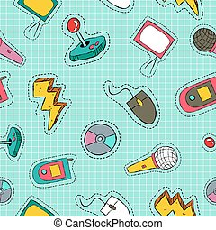 Retro technology patch icon seamless pattern - Retro style...