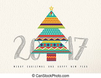 New Year 2017 colorful abstract pine tree design