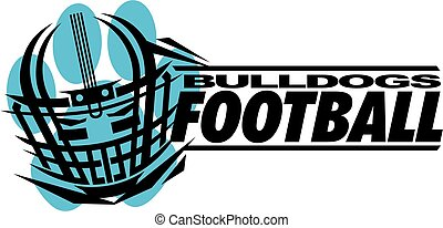 bulldogs football team design with helmet and paw print for...