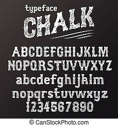 Chalkboard typeface, modern font written on the board with...