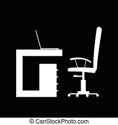 office furniture in white color illustration