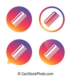 Comb hair sign icon Barber symbol Gradient buttons with flat...