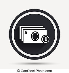 Cash and coin sign icon Paper money symbol For cash machines...