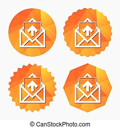 Mail icon. Envelope symbol. Outbox message sign. - Mail...