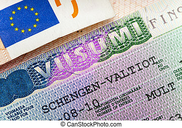 Schengen visa of Finland on the page of the passport, close...