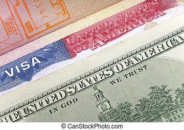 American visa on page of the intern - The American visa on...