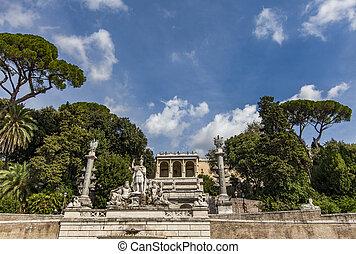 Fontana della Dea Roma in Piazza del Popolo in Rome - View...