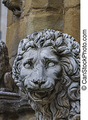 Medici lions from Florence, Italy - Closeup detail of Medici...