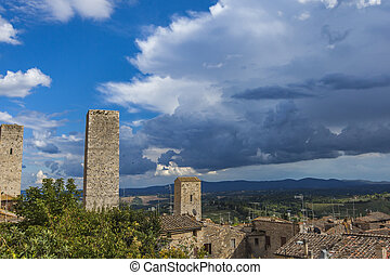 San Gimignano - View at old stone towers at San Gimignano in...
