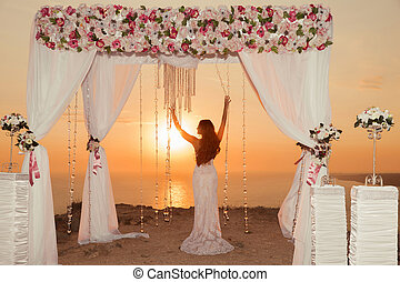 Sunset. bride silhouette