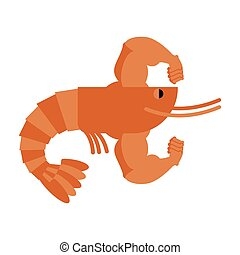 Strong athlete shrimp. Powerful athlete plankton. Big Hands bodybuilding