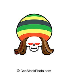 Rasta death. Rastafarian dreadlocks skull and beret. Grim...
