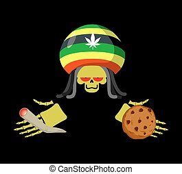 Rasta death offers cookies and joint or spliff. Rastafarian...