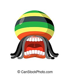Rastaman screams. Rasta cry. Open your mouth and teeth. Loud...