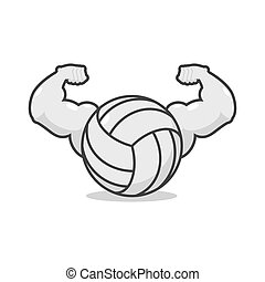 Strong volleyball. Powerful gaming accessory. Bodybuilding big hands. power athlete ball