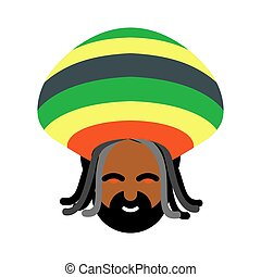 Rastaman avatar. Rasta cap and dreadlocks. Sign...