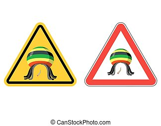 Warning sign Rastaman Attention Stoned drug man Dangers...
