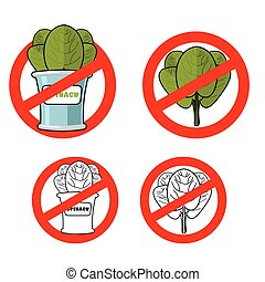 Stop spinach. Prohibited green leaf lettuce. Red prohibition...
