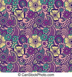 Paisley seamless colorful pattern - Paisley mehndi seamless...