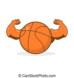 Strong basketball. Powerful gaming accessory. Bodybuilding big hands. Strong athlete ball