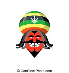 Rastaman devil. Rasta cap and dreadlocks. Satan for...
