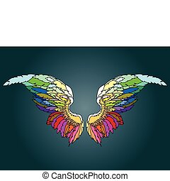 elements - colored angel wings, design elements