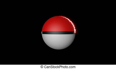 Animation Pokeball the energy range. Seamless loop