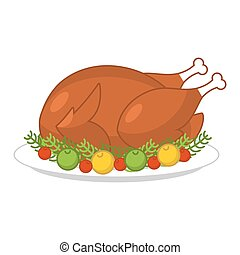Roast turkey for Thanksgiving. Fowl on plate. Roast wildfowl with apples and cranberries. Traditional festive meal. Symbol Historic national holiday