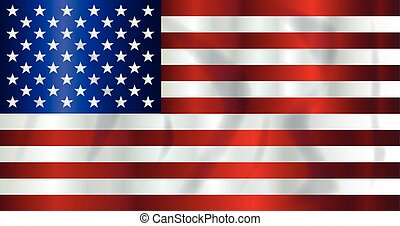 Old Glory Flag - The Stars and Stripes flag with shadow...