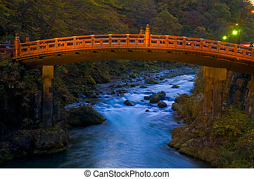 Nikko bridge - Bridge in Nikko Japan at autumn day